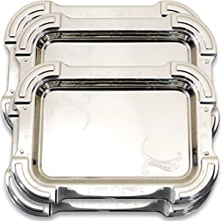Maro Megastore (Pack of 4 17-Inch x 12.2-Inch Heavy Sturdy Oblong Chrome Mirror Serving Tray Stylish Design Floral Engraved Holiday Wedding Birthday Buffet Party Dessert Art Decor 1591 M Ts-045