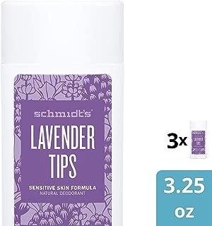 Schmidt's Sensitive Skin Deodorant, Lavender Tips, 3.25 Ounce (pack of 3)