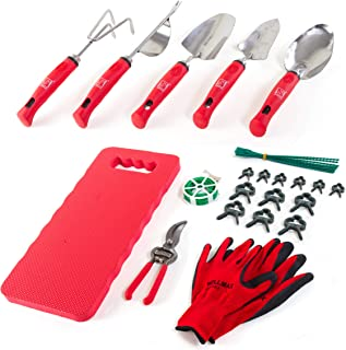 Wellmax Garden Tools Set of 12 with Gardening Gloves, Pruning Shear and 7 Piece Stainless Steel Hand Digging Tool Heavy Duty kit