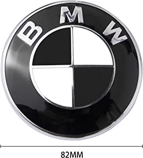 BMW Logo, BMW Emblem Replacement for BMW Hood or Trunk E30 E36 E34 E60 E65 E38 X3 X5 X6, 3-Series, 5-Series, 6-Series, 7-Series etc (Black(82mm))
