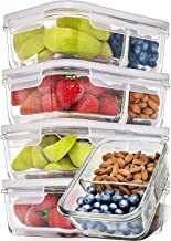 Prep Naturals Glass Meal Prep Containers Glass 2 Compartment 5 Pack - Glass Food Storage Containers - Glass Storage Containers with Lids - Divided Glass Lunch Containers Glass Food Containers 29 Ounce