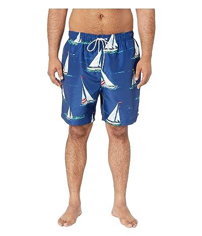 Nautica Big & Tall Big Tall Sailboat Motif Swim Shorts (Blue Depths) Men
