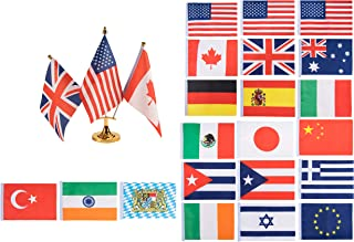 Mini International Flags, Country Flags for Kids - Mini World Flag Decorations, Desk Flag Stand and 21-Country Flag Set - Includes 3 Metal Mini Flag Poles, 3-Hole Gold Base and Stand