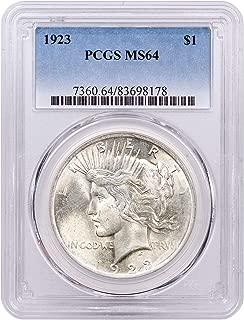1923 P Silver Peace Dollar MS64
