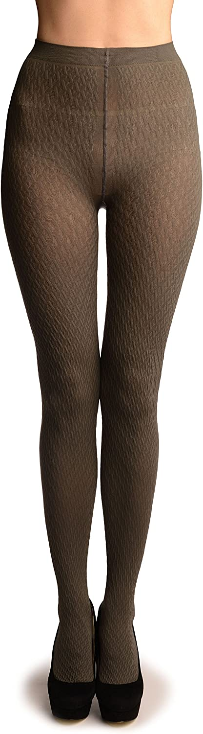 Grey 3D Woven Rhombi All The Way Up Warm Tights - Pantyhose (Tights)