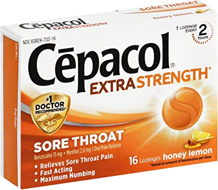 Cepacol Maximum Strength Throat Drop Lozenges, Honey Lemon, 16 Count