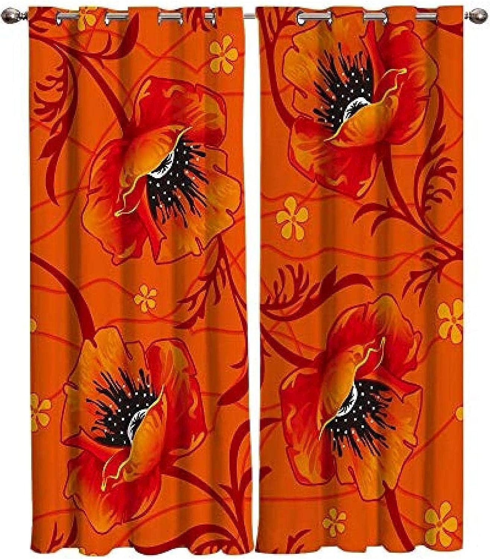 5 popular XKSJWY Kitchen Curtains Orange Flowers Landscape service 104X95 I Plants