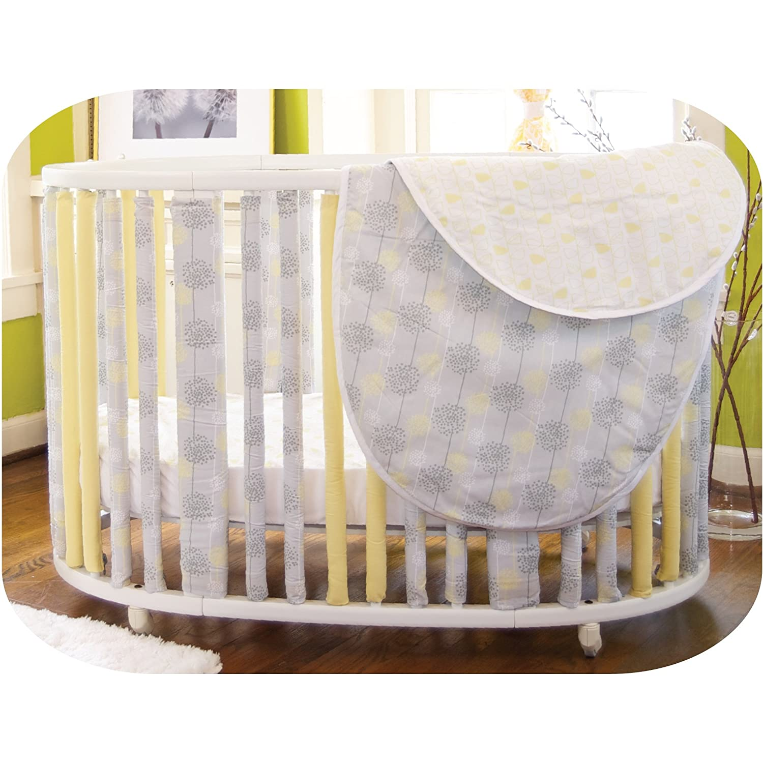 Amazon Com Go Mama Go Designs Wonder Bumpers For Oval Cribs Modern Nature Discontinued By Manufacturer Stokke Bedding Baby