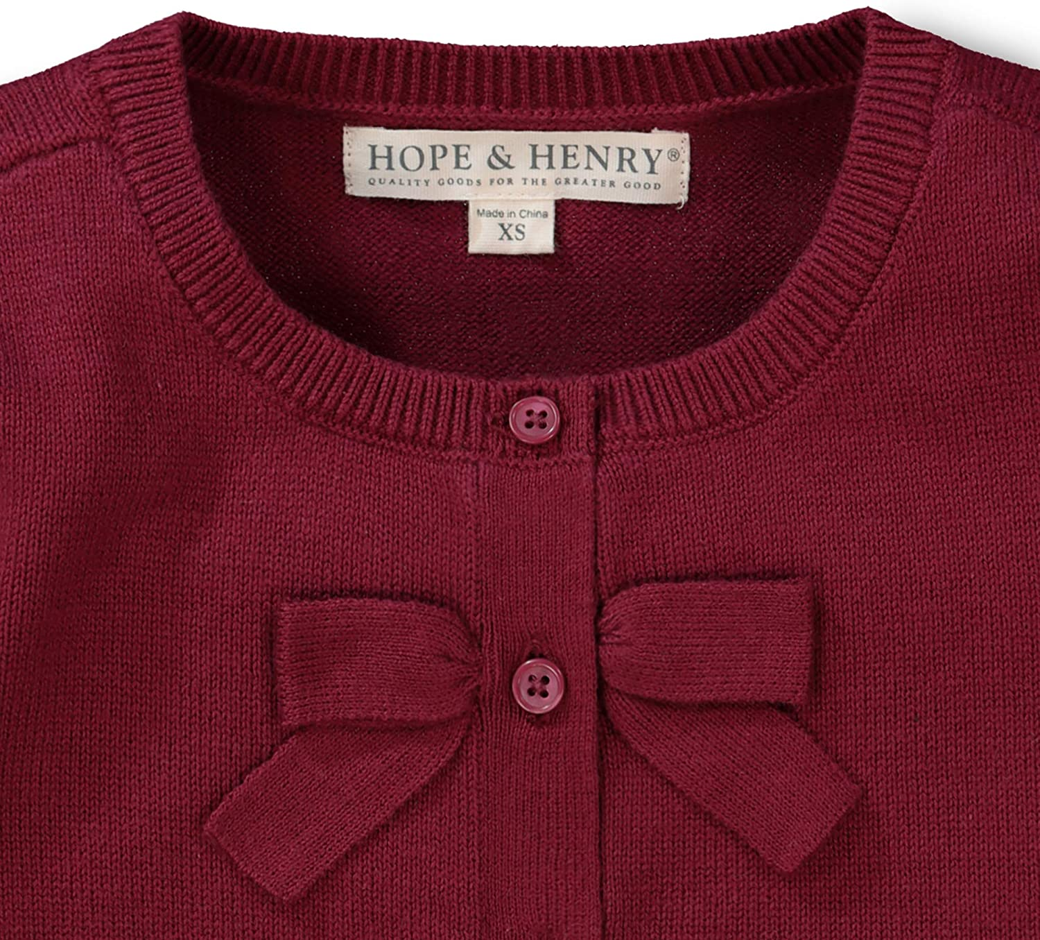 Hope /& Henry Girls Cardigan with Bow at Button Placket