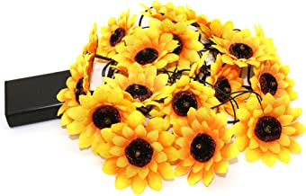 CVHOMEDECO. Sunflower String Lights Artificial Silk Flowers Battery Powered Fairy Starry Lights for Wedding Birthday Party...