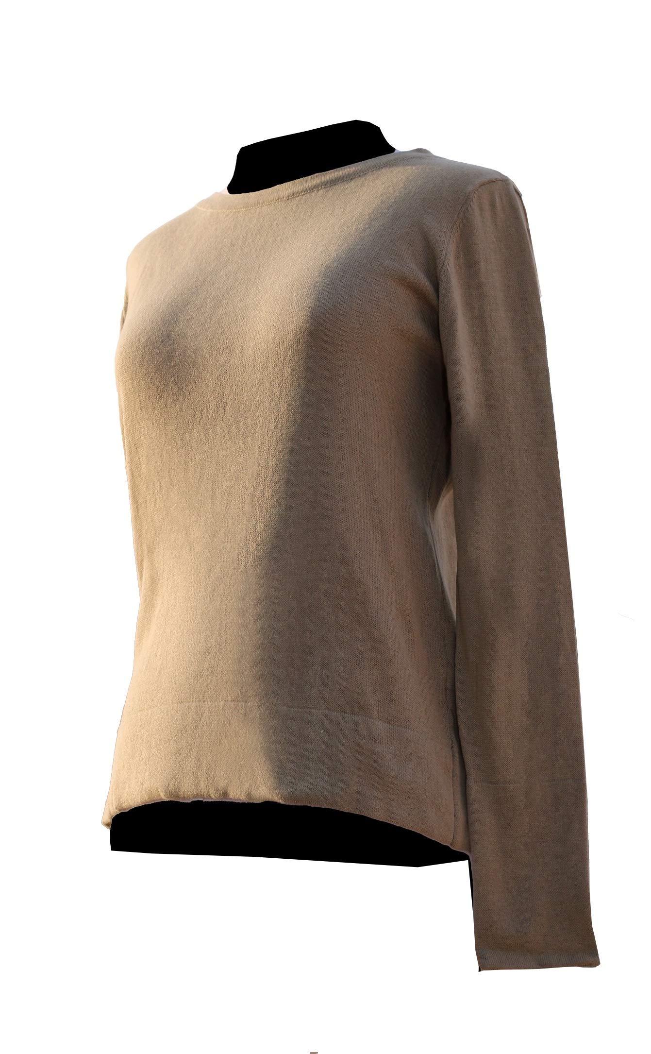Women/´s Beige Banded Sweater Small S Peruvian Lightweight Alpaca Wool TINKUY PERU