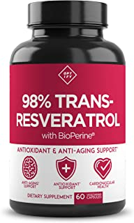 New Ultra Therapeutic Resveratrol Supplement - 98% Trans Resveratrol Plus BioPerine - Antioxidant Supplement for Anti Agin...