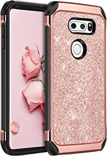 LG V30 Case, LG V30+ Case, LG V35 ThinQ Phone cases, LG V30S ThinQ Cell Phone Case, BENTOBEN Slim 2 In 1 Glitter Bling Sparkly Cover, Heavy Duty Shockproof Protective Cases for Women, Gilrs, Rose Gold