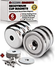 Strong Neodymium Cup Magnets (6 Pack) - 95 lbs Holding Force Rare Earth Magnets - 1.26