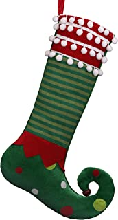 Valery Madelyn 21 inch Delightful Elf Christmas Stockings with Pom Pom Balls Cuff, Knit Stripe and Polka Dots, Themed with Tree Skirt (Not Included)