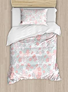 Ambesonne Doodle Duvet Cover Set, Cartoon Styled Cats Bats and Skulls Japanese Inspired Kawaii Design, Decorative 2 Piece Bedding Set with 1 Pillow Sham, Twin Size, Light Pink