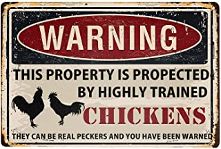 Chicken Sign Funny Warning Property Protected by Chickens Tin Sign 11.8x7.9 Inches Chicken Coop Decor Sign For Home Farmho...