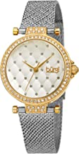 Burgi Women's Swarovski Crystal Argyle Embossed Dial Watch - Sparkling Swarovski Crystals Ring The Bezel on a Stainless Steel Argyle Mesh Band - BUR263