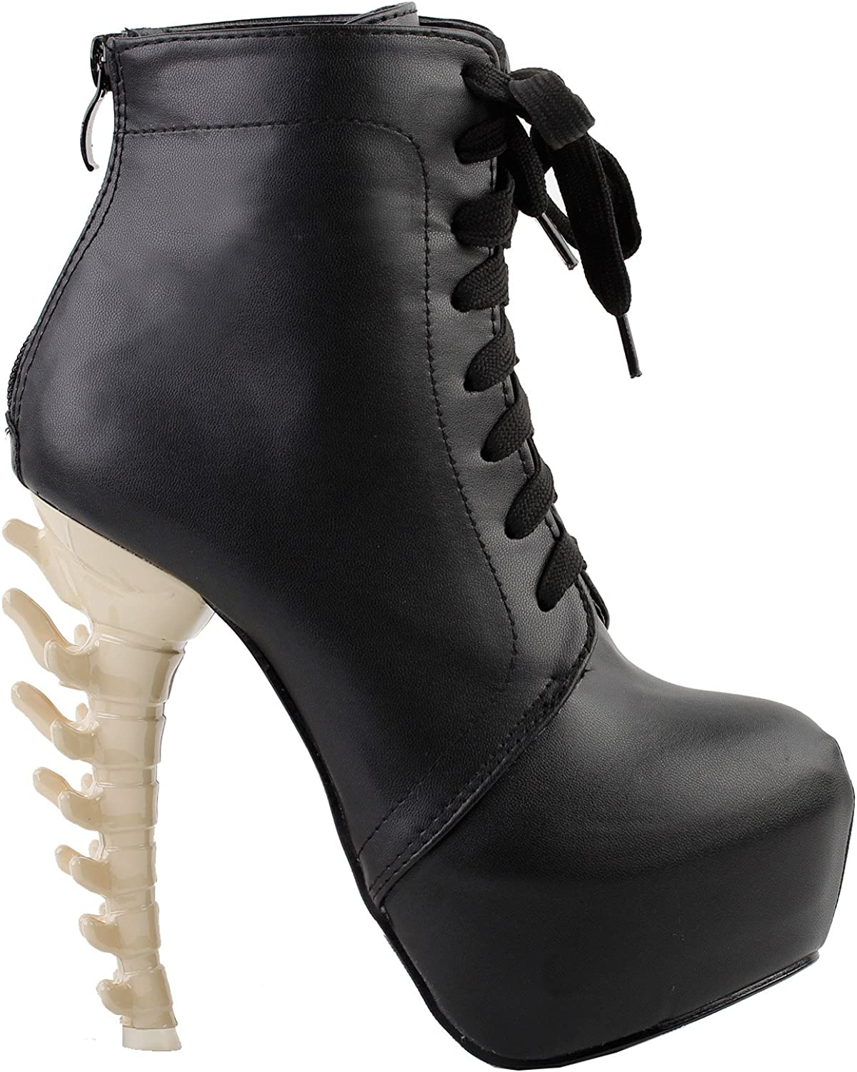 Show Story Punk Strappy Lace Up Buckle High-top Bone Platform Ankle Boots,LF80647