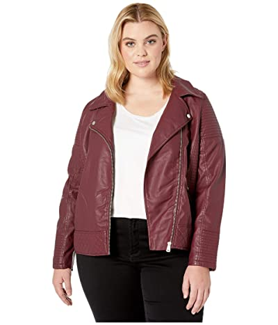 YMI Snobbish Plus Size Faux Leather Jersey Lined Moto Jacket (Sangria) Women