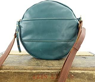 Teal Blue Leather Round Canteen Purse