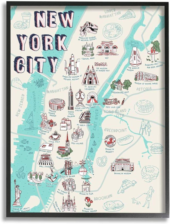 Stupell Industries New York City Tourist Attr Seasonal Wrap Cheap mail order shopping Introduction Local Map Landmark