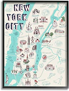 Stupell Industries New York City Landmark Map Local Tourist Attractions Ziwei Li Black Framed Wall Art, 16 x 20