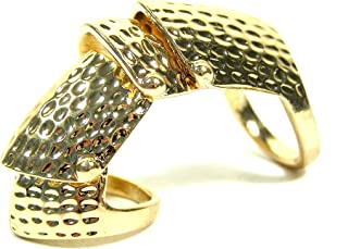 Hinged Armor Ring Size 5.5 Finger Plate Armadillo RE01 Gold Tone Knuckle Cocktail Fashion Jewelry
