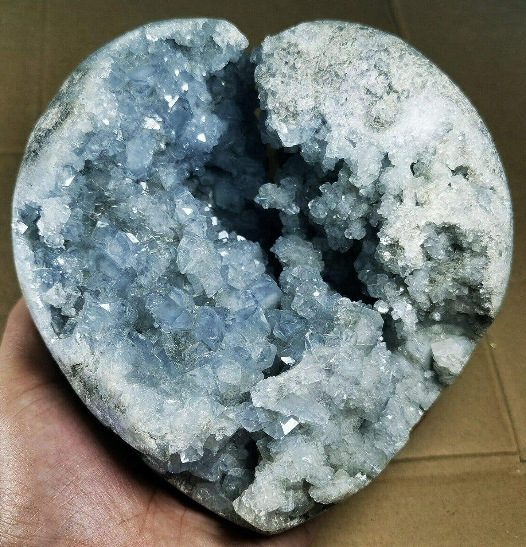 Rare Grade Gorgeous Sky Blue Tucson Mall Crystal Geode Rough Outstanding Celestite Reiki
