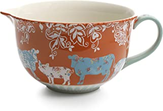 Urban Market by Gibson 99857.01RM Life on the Farm 4 quart, batter, decorated bowl, Blue/Red