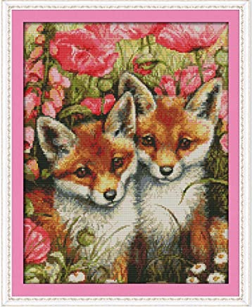 Anself Cross Stitch Set Foxes Pattern DIY Embroidery Kit for Home Decor 35 X 44cm