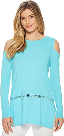 Long Sleeve Cold Shoulder Insert Top