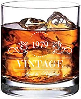 1979 40th Birthday Gifts for Men or Women - Lowball Old Fashioned Whiskey Glass - Vintage Aged to Perfection 11 oz - Perfect Anniversary Party Decorations for Dad Husband Son or other Loved One