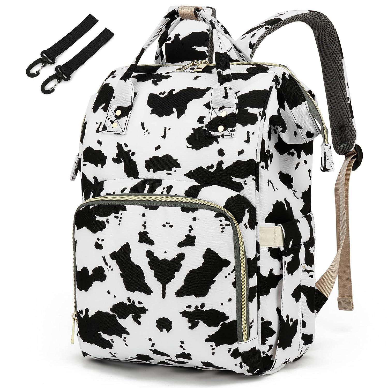 Cow Print Diaper Bag Backpack for Baby Girls, Yusudan Mom Waterproof Large Nappy Bags for Women