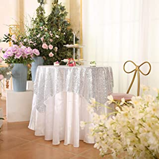 """Juya Delight 50"""" x 50"""" Silvery Square Sequin Tablecloth for Party Dinner Banquet Festival Wedding Anniversary Exhibition Dessert Table"""