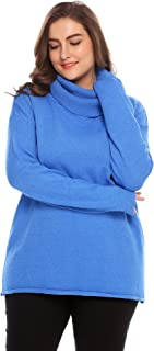 IN'VOLAND Involand Women's Plus Size Fitted Long Sleeve Cowl Neck Oversize Knit Sweater