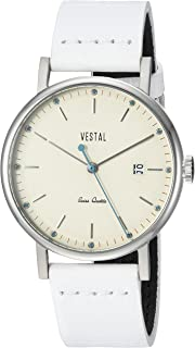 Vestal Sophisticate 36 Stainless Steel Swiss-Quartz Watch with Leather Calfskin Strap, White, 18 (Model: SP36L04)