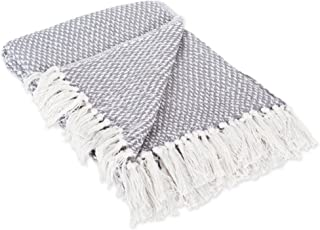 DII 100% Cotton Basket Weave Throw for Indoor/Outdoor Use Camping BBQ's Beaches Everyday Blanket, 50 x 60, Woven Gray