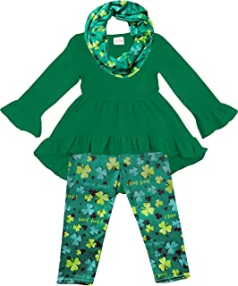 Sponsored Ad - Amor Bee Little Girls St. Patrick`s Day Outfit Sets - Shamrock Lucky Clover 3 Piece Top, Pants & Scarf