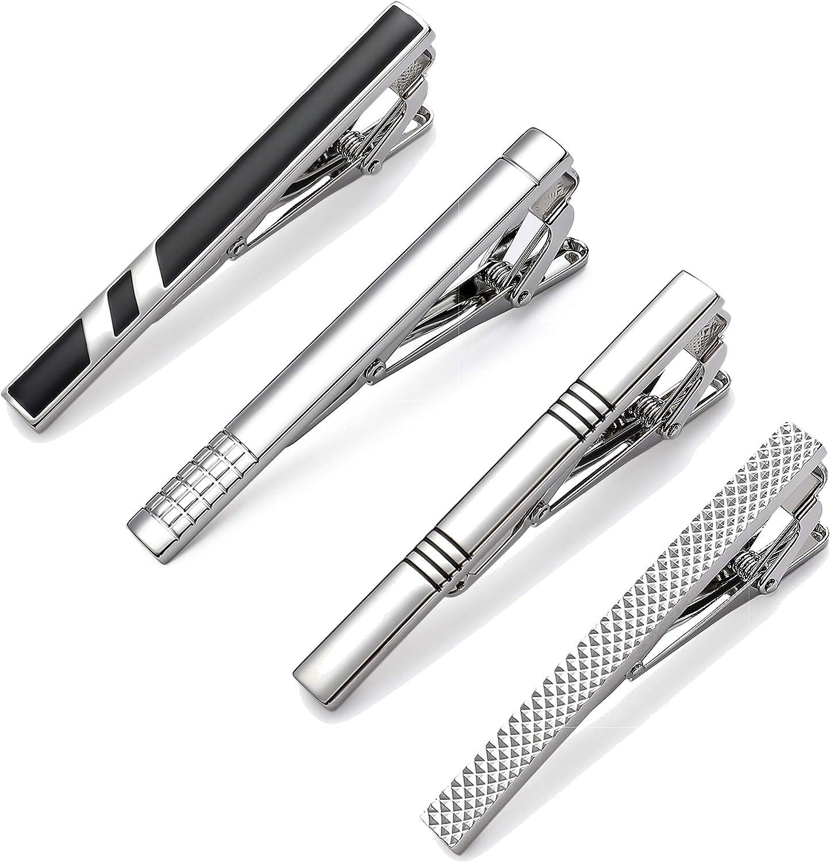 MOZETO Tie Clips for Men, Black Gold Blue Gray Silver Tie Bar Set for Regular Ties, Luxury Box Gift Ideas