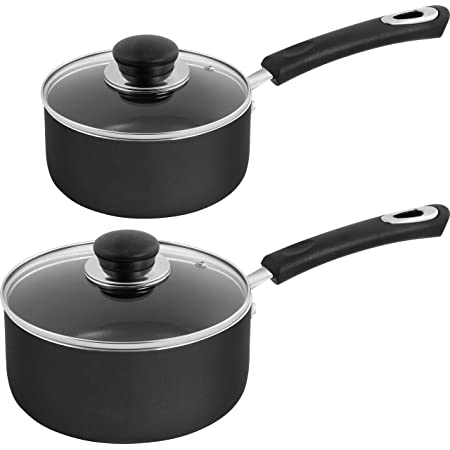 2-Quart, Black Mokpi Nonstick Saucepan with Glass Lid 2 Quart Soup Pot with Cover Solid Wood Handle Multipurpose Pot Kitchen or Camping Cookware