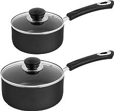 Utopia Kitchen Nonstick Saucepan Set - 1 Quart and 2 Quart - Glass Lid - Multipurpose Use for Home Kitchen or Restaurant (...