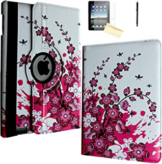 JYtrend Case for iPad Air (2013 Released), Rotating Stand Smart Case Cover Magnetic Auto Wake Up/Sleep for iPad Air (Air 1) A1474 A1475 A1476 (Pink White Flower)