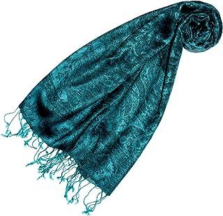 Lorenzo Cana Pashmina Damen Schal Schaltuch hochwertig kuschelweich und leicht Damenschal Stola 70 cm x 180 cm opulentes türkis grün Paisleymuster aufwändig gewebt 78148