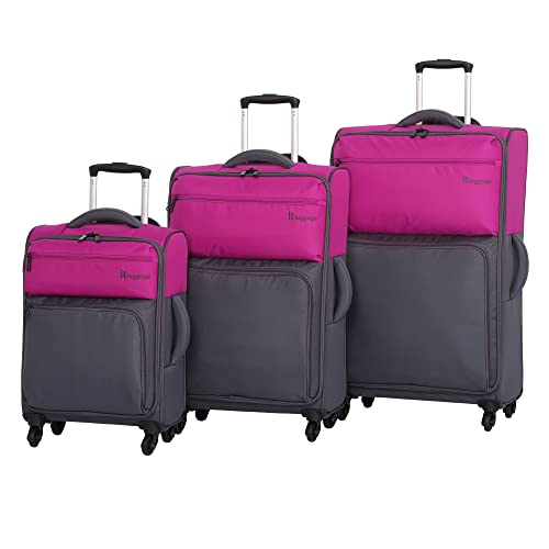 it luggage Duotone 4 Wheel 3 Piece Set, Fuchsia Red Top Half + Magnet Bottom