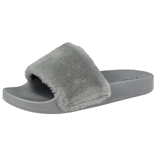 3d98457df6f09c Ella Ladies Faux Fur Trim Fashion Sliders Peep Toe Flat Slip On Sandals  Mules Size 3