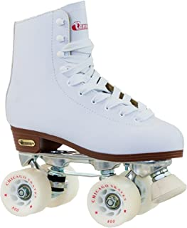 Chicago Women's Premium Leather Lined Rink Roller Skate - Classic White Quad Skates