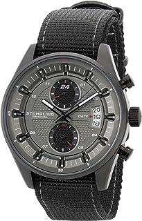 Stuhrling Men's Black Dial Nylon Band Watch - 845.04, Analog Display
