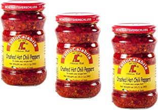 Tutto Calabria Hot Chili Peppers Crushed. In Glass 3 Pack. Imported Calabria Italy