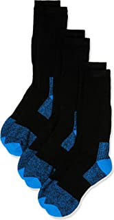 Rio Men's Reinforced Cushion Comfort Work Socks (3 Pack), Blue & Black, 6-10